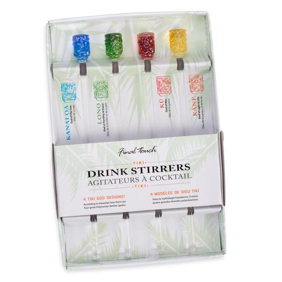 "Tiki Head Handmade Glass Swizzle Stir Sticks - 8""L - Set of 4"