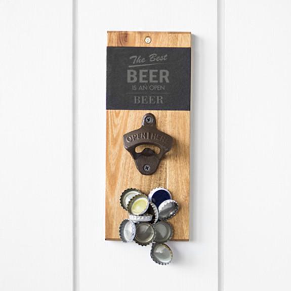The Best Beer is Open Beer Slate & Acacia Wall Mount Bottle Opener with Magnetic Cap Catcher