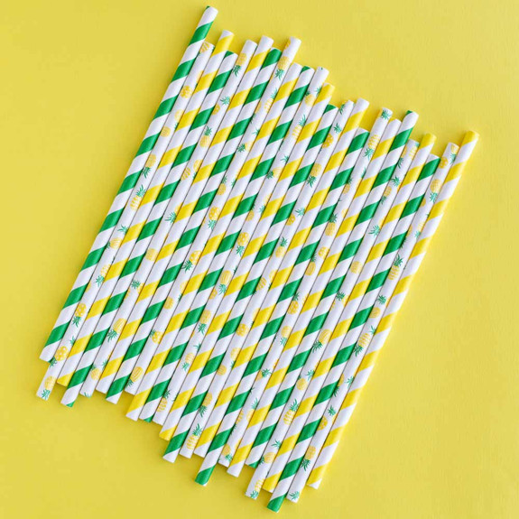 """Pineapple Paper Straws - 8""""L - Pack of 24"""