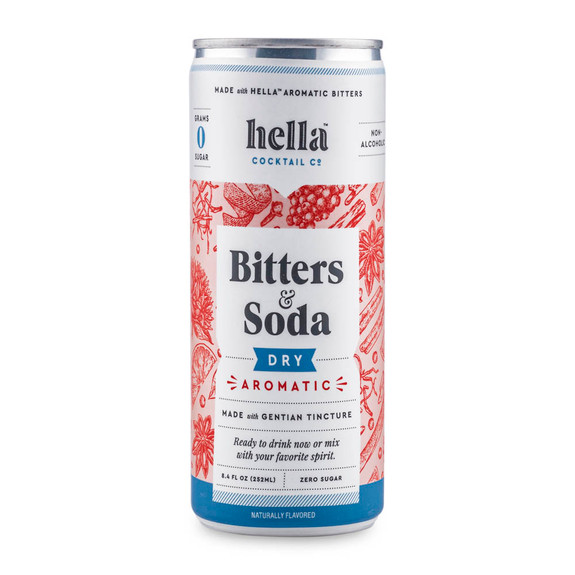 Hella Cocktail Co. Bitters & Soda Dry Aromatic Premium Mixer - 8.4 oz Cans - 4-Pack