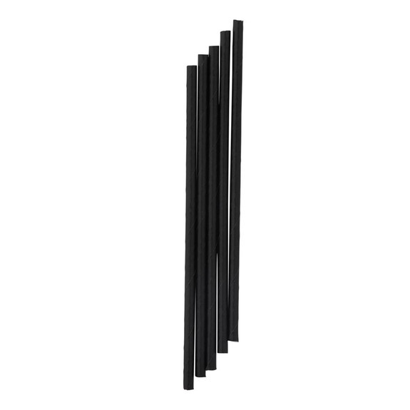 "Hoffmaster Eco-Friendly Compostable Paper Cocktail Stir Stick Sip Straws - Black - 5.75""L - Box of 1600"