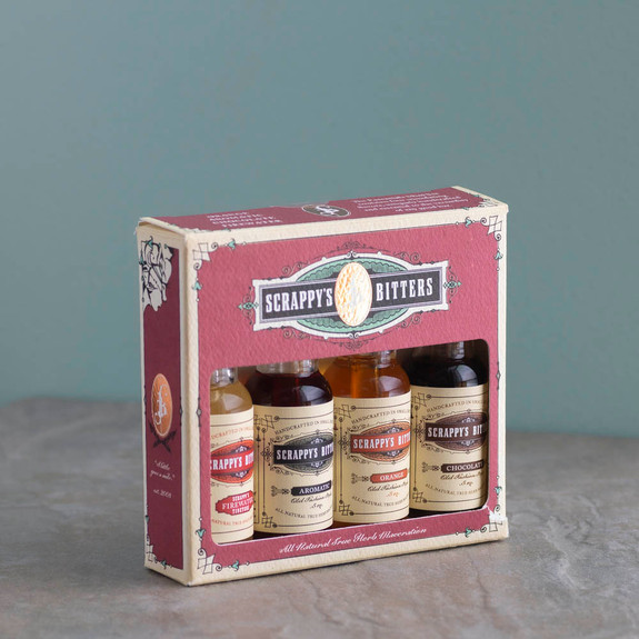 Scrappy's Cocktail Bitters Sampler 4 Pack - The Essentials - Orange, Aromatic, Chocolate & Firewater
