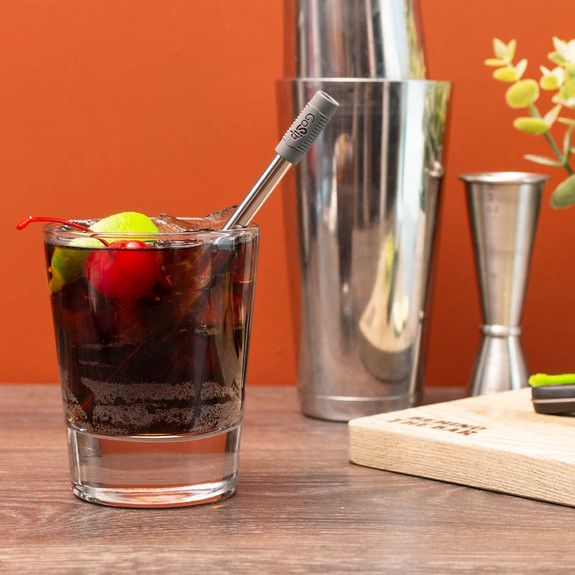 Final Touch GoSip Stainless Steel Adjustable Straws with Cleaning Brush & Grey Compact Case