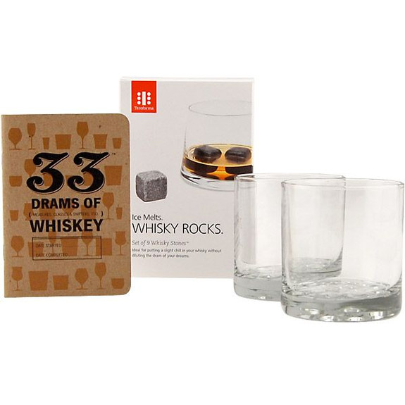Whiskey Lovers Starter Gift Set - Rocks Glasses, 33 Whiskeys Book and Whiskey Stones