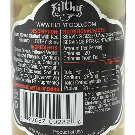 Filthy Pimento Stuffed Olives - 8 oz Jar