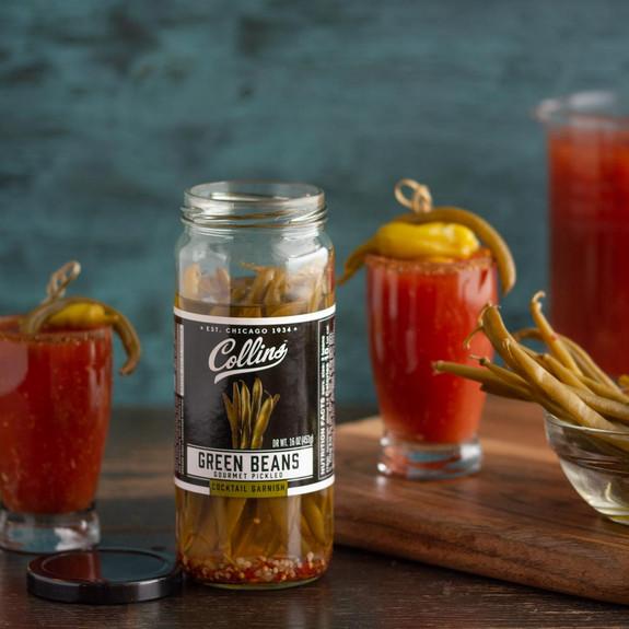 Collins Gourmet Cocktail Garnish Pickled Green Beans - 16 oz Jar