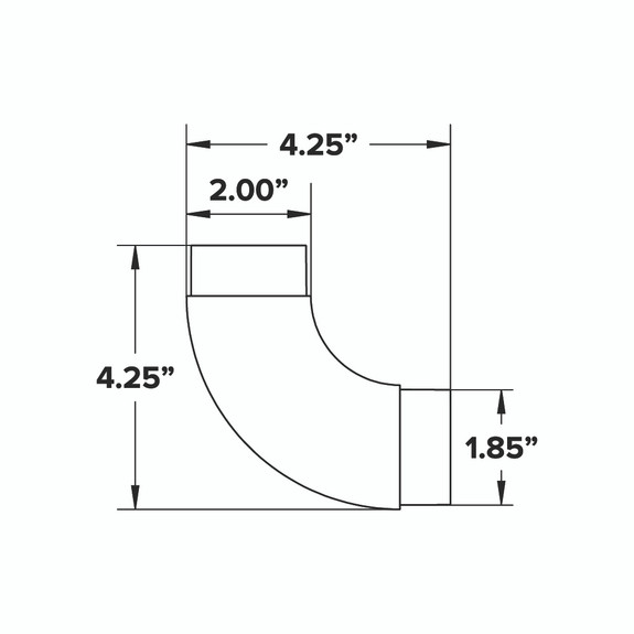 "Curved Flush Elbow Fitting 90 Degree - Matte Black - 2"" OD"