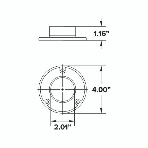 """4"""" Wall Flange - Gunmetal Grey - 2"""" OD"""
