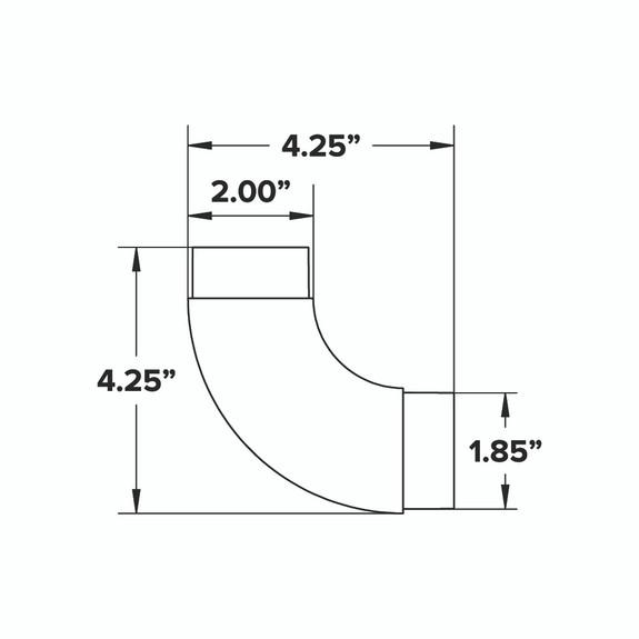Curved Flush Elbow Fitting 90 Degree - Gunmetal Grey - 2-inch OD