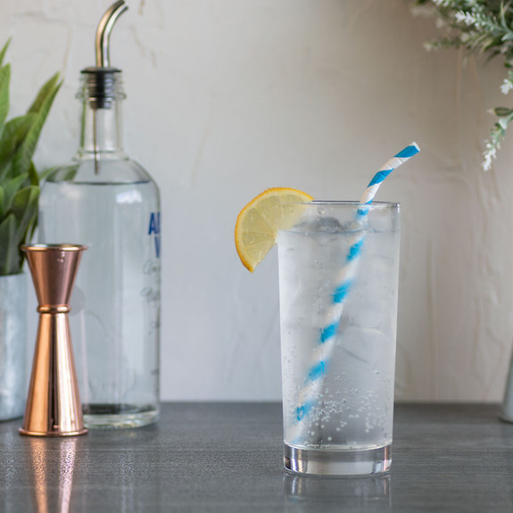 "Aardvark Eco-Flex Bendable Paper Drinking Straws - Blue & White Stripes - 7.75""L - Box of 400 Wrapped Straws"