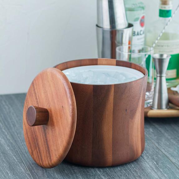 Natural Teak Wood Ice Bucket - 3 Quarts