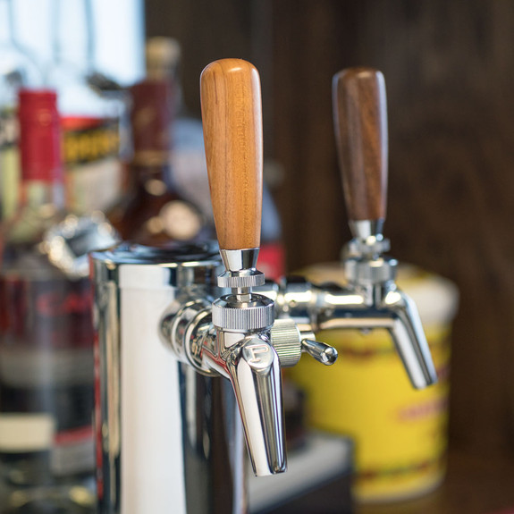 "KegWorks 3"" Wood Beer Tap Handle - Cherry and Walnut on Tower"