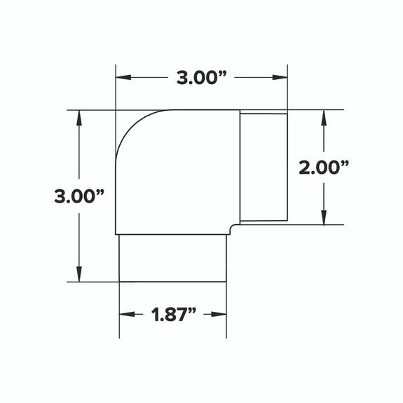 Flush Elbow Fitting 90 Degree - Matte Black - 2-inch OD