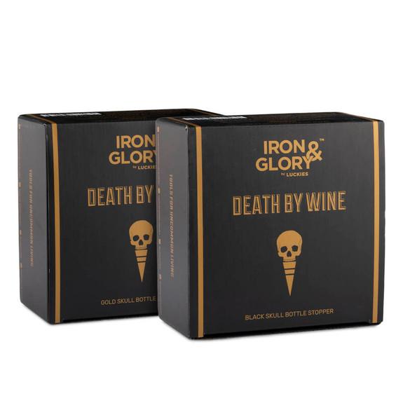 Death By Wine Skull Bottle Stoppers - Black & Gold 2 Pack