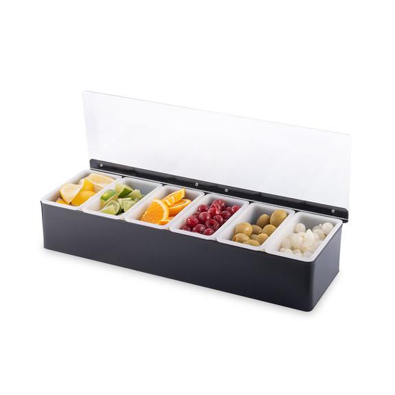 Bar Garnish Tray - Black - 6 Compartments