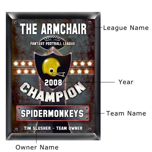 Fantasy Football Champion Personalized Plaque with Personalized Items