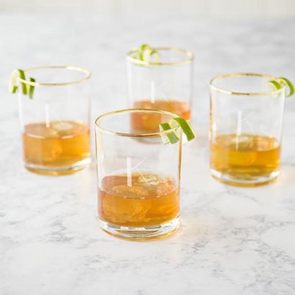 Personalized Gold Rim Whiskey Rocks Glasses - 11 oz - Set of 4