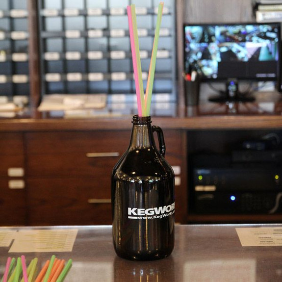Extra Long Disposable Multi-Colored Straws in Growler
