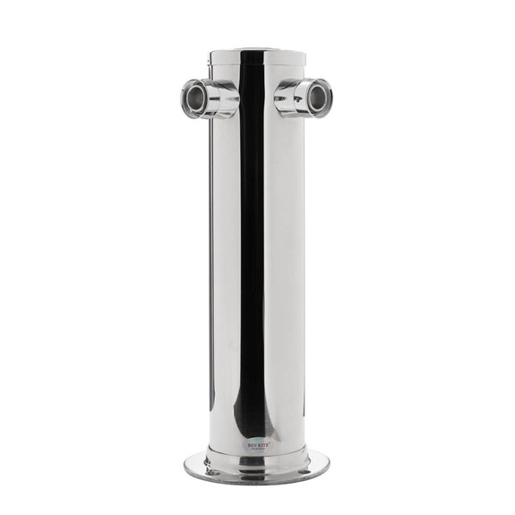 """Draft Tower - 100% Stainless Steel Contact - 3"""" Column - 2 Taps - No Faucets"""