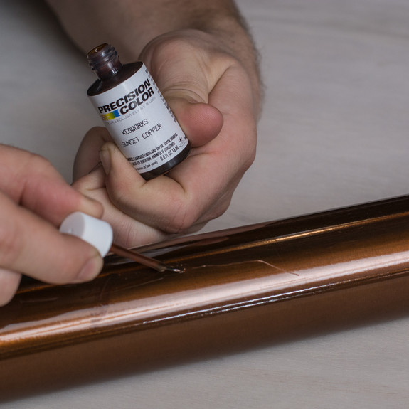 Kegworks Touch-up Paint on Bar Rail - Sunset Copper