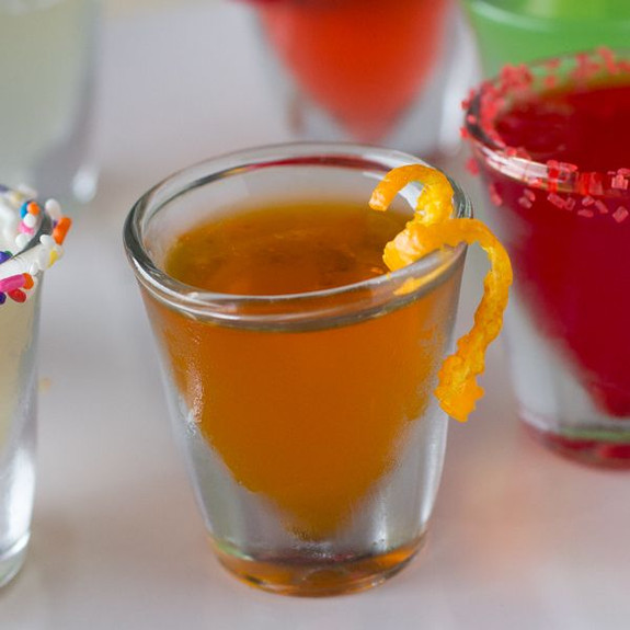Orange Crushed Flavored Jello Shot Mix in glass shot