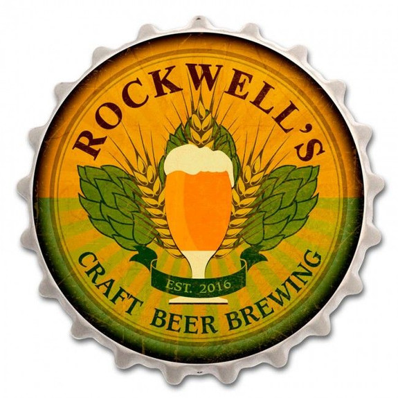 Personalized Craft Beer Brewing Metal Bottle Cap Bar Sign