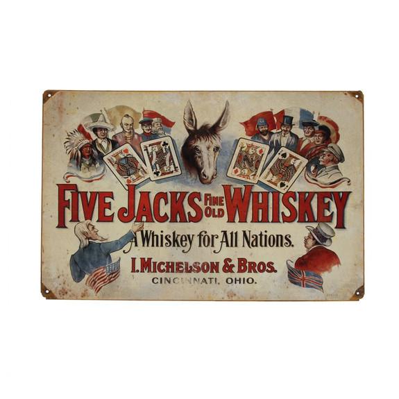 Vintage Five Jacks Whiskey Metal Bar Sign