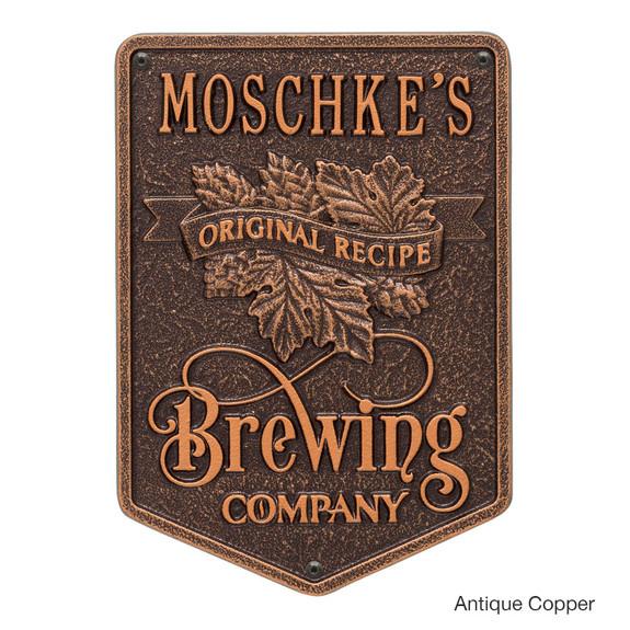 Personalized Brewing Company Plaque - Antique Copper