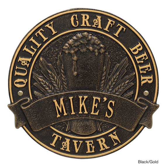 Personalized Craft Beer Tavern Plaque - Black / Gold
