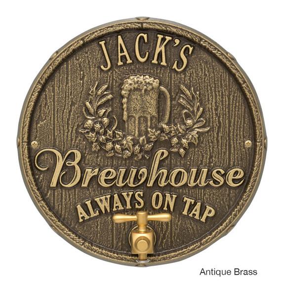 Personalized Oak Barrel Brewhouse Plaque - Antique Brass