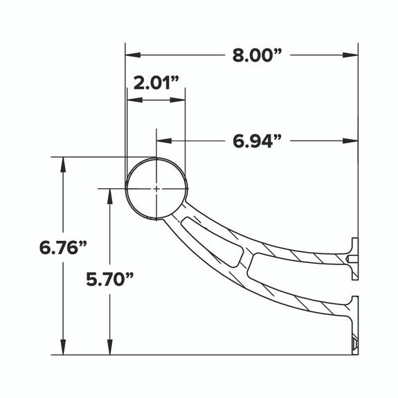 "Bar Mount Foot Rail Bracket - Polished Stainless Steel - 2"" OD"