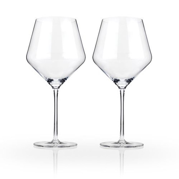 Viski Raye Crystal Burgundy Wine Glasses - 21 oz - Set of 2