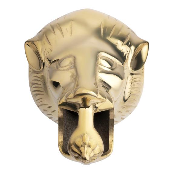 "Lion Head Bar Rail Bracket - Polished Brass - 2"" OD"