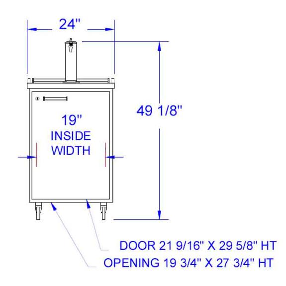 Beverage Air BM23 Kegerator - 1 Faucet - Dimensions Diagram