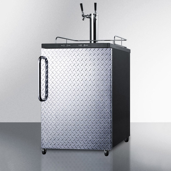 Summit Under Counter Kegerator- Double Faucet- Diamond Plate
