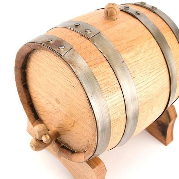 Oak Beverage Dispensing Barrel with Galvanized Steel Bands Natural Close Up