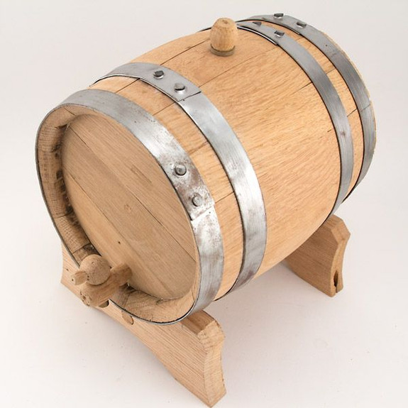 Oak Dispensing Barrel with Galvanized Steel Bands - Unfinished Side View