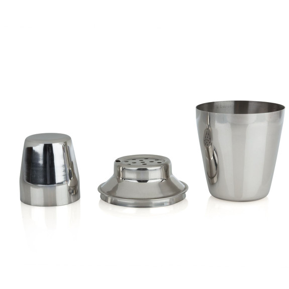 Tablecraft 3 Piece Mini Stainless Steel Cocktail Shaker - 8 oz