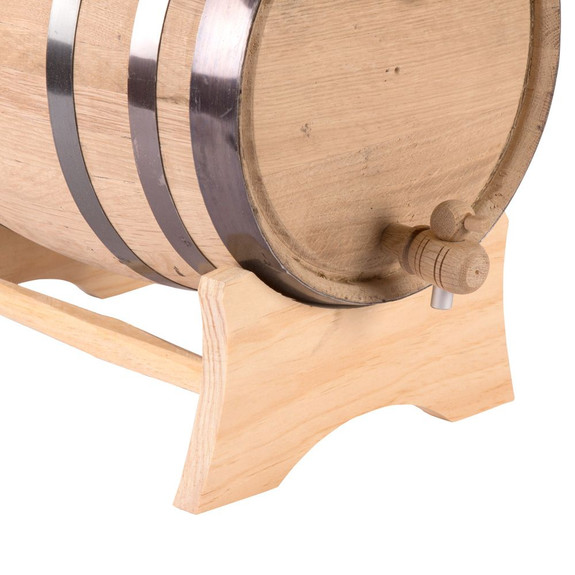 Oak Dispensing Barrel with Stand - Black Steel Bands - Unfinished - 20 Liter