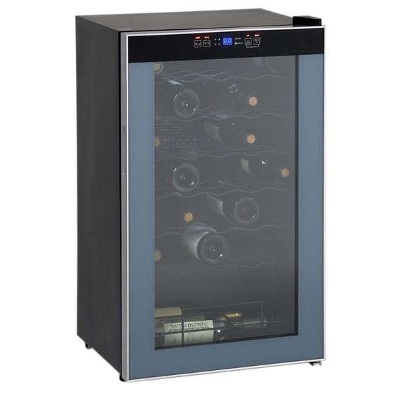 34 Bottle Wine Cooler - Black Cabinet - Glass Door