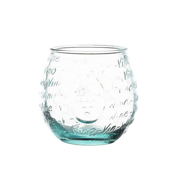 Rustic Handblown Recycled Stemless Wine Glass - 14 oz