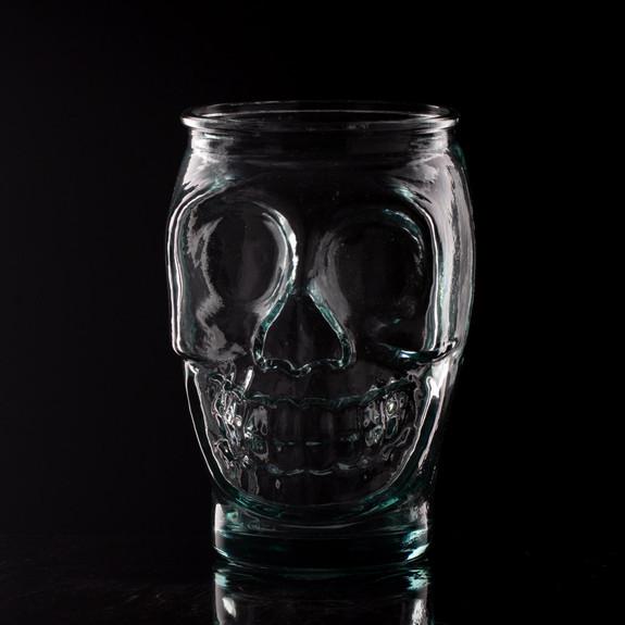 Primitive Skull Handblown Recycled Glass Tumbler - 16 oz