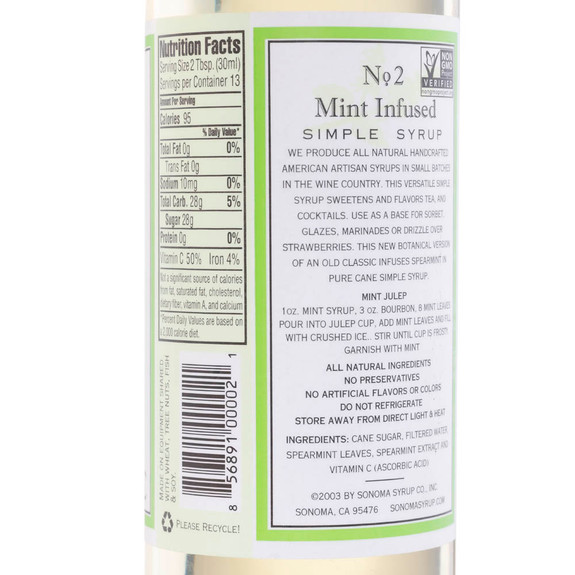 Sonoma Mint Infused Simple Syrup - 12.7 oz