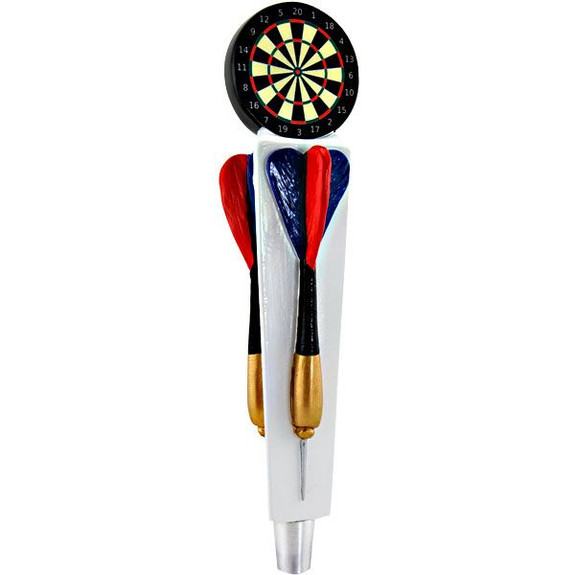 tap handles, beer and darts