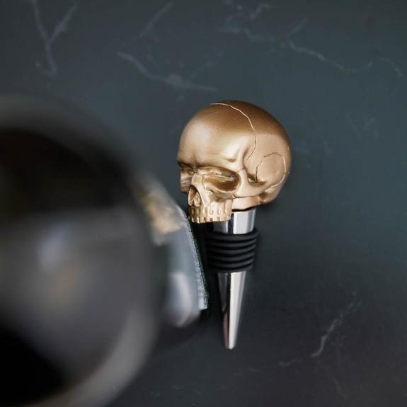 Death By Wine Skull Bottle Stopper By Luckies - Gold