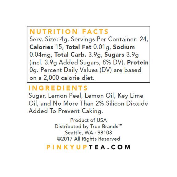 Lemon Flavored Cocktail Sugar - Nutritional Facts