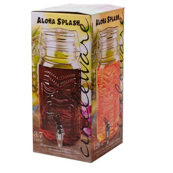 Tiki Aloha Splash Glass Beverage Dispenser - 126 oz