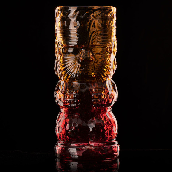 Warrior Lava Red Handcrafted Mold Blown Glass Tiki Mug - 16 oz