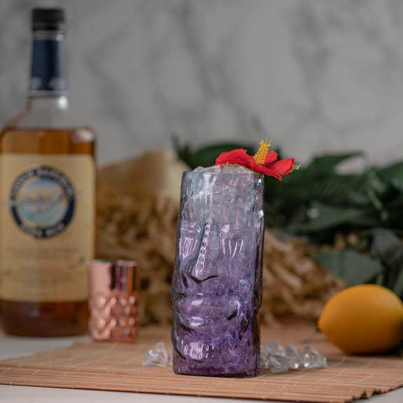 Moai Eclipse Handcrafted Mold Blown Glass Tiki Mug - 13 oz