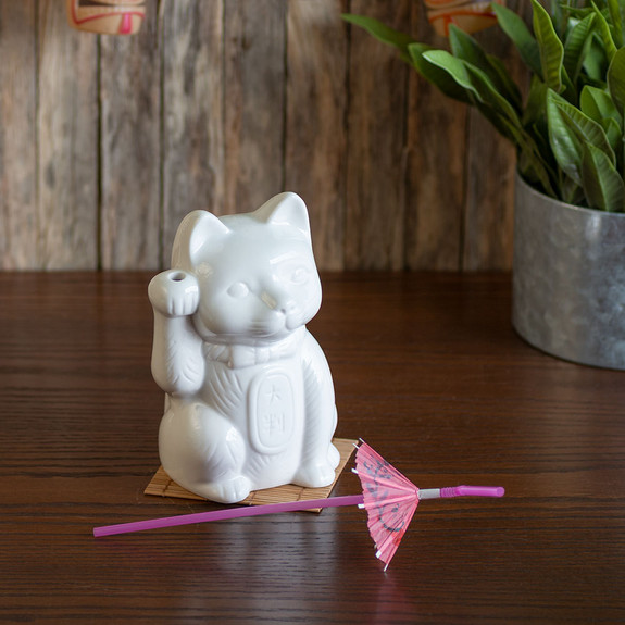 Maneki Neko Lucky Cat Ceramic Tiki Mug - 14 oz